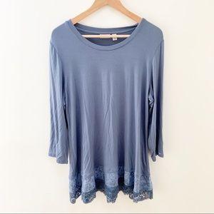 LOGO by Lori Goldstein blue blouse crochet L